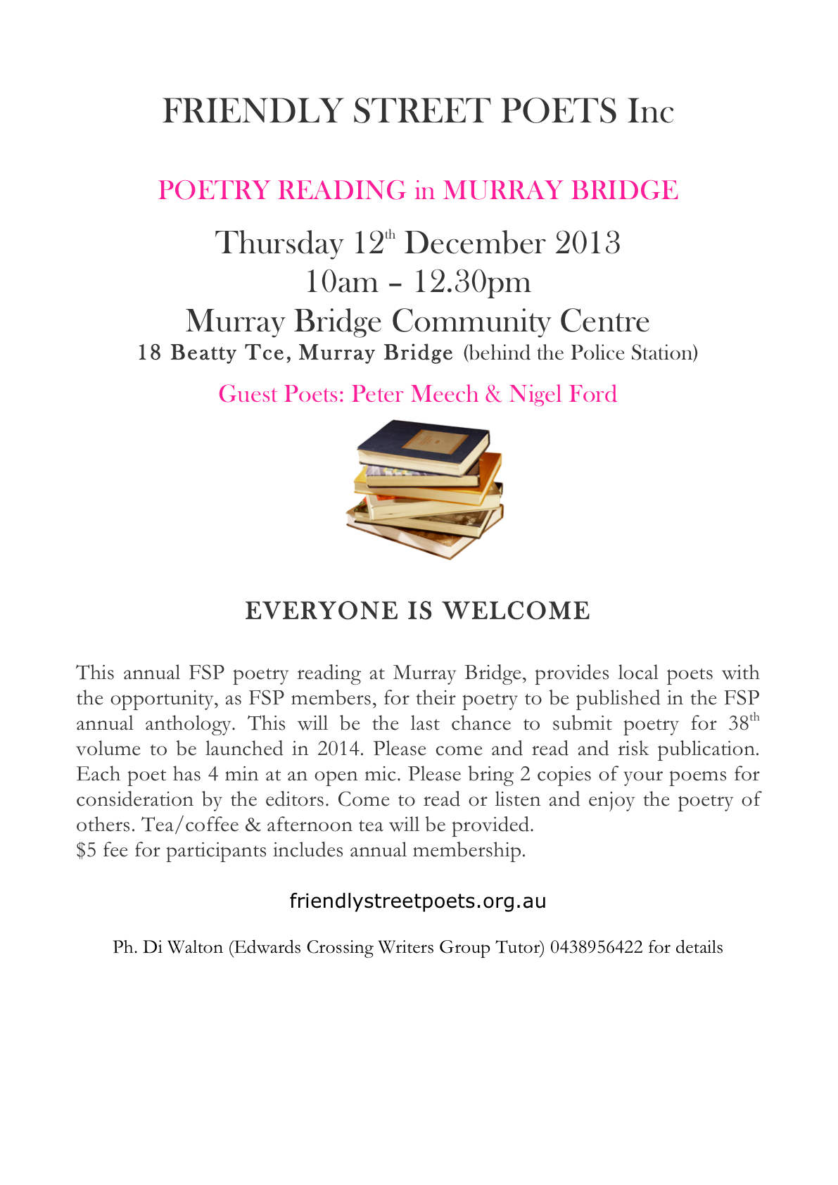 FSP Murray Bridge FLYER thurs Dec12th 2013